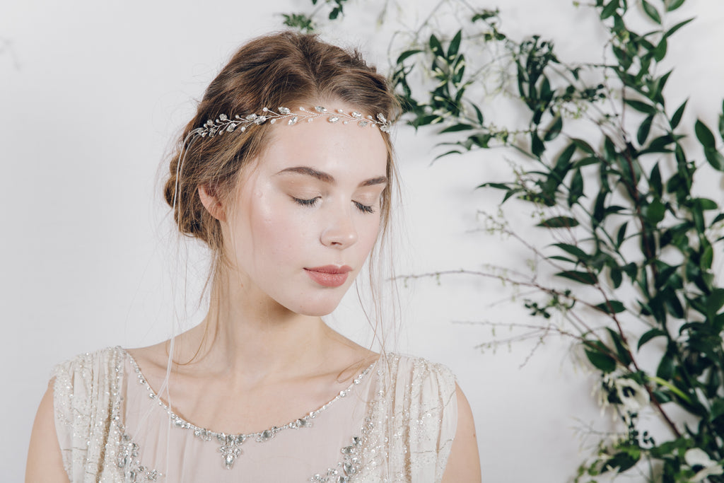 delicate crystal and pearl leaf bridal headband