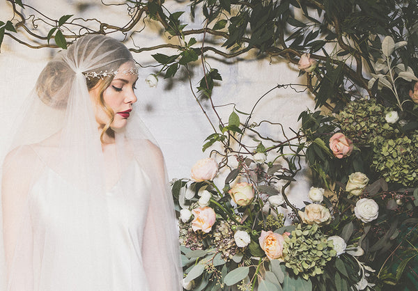 Isabella floral headband with Juliet Cap veil