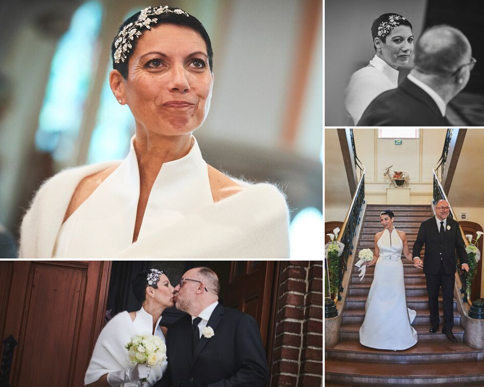 Debbie Carlisle Real Bride wears statement crystal bridal headband Hattie