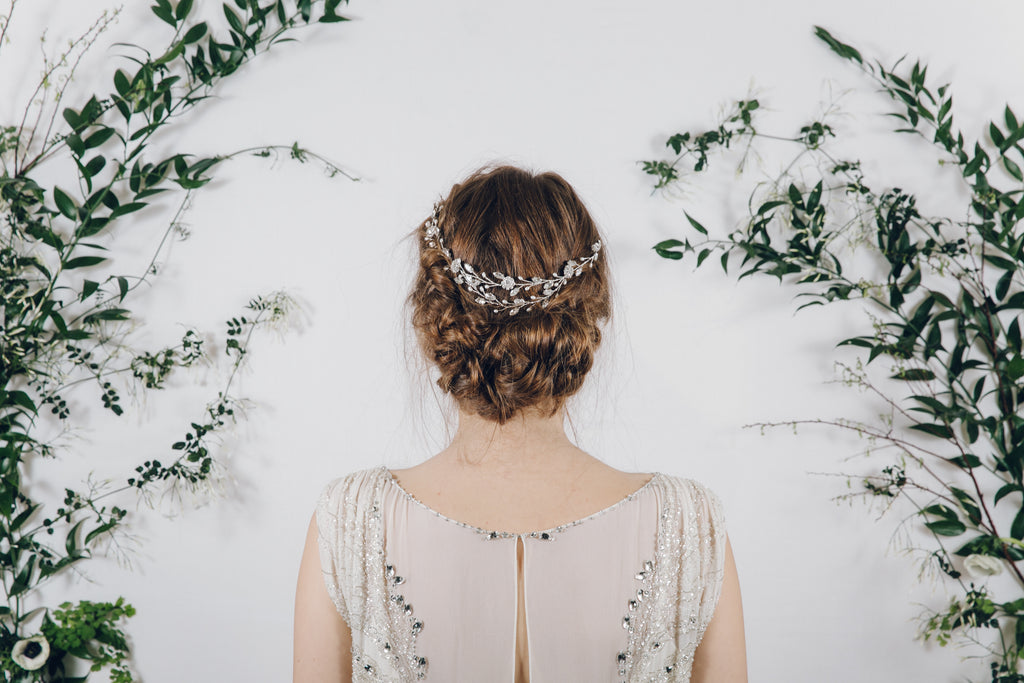 ribbon tie bridal headband worn as a hair vine in the back of the head