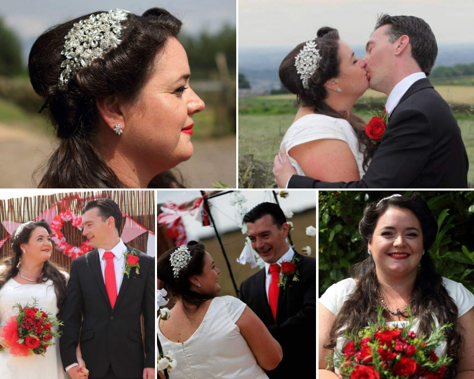 Debbie Carlisle Real Bride wears Hattie Statement Crystal Bridal Headband