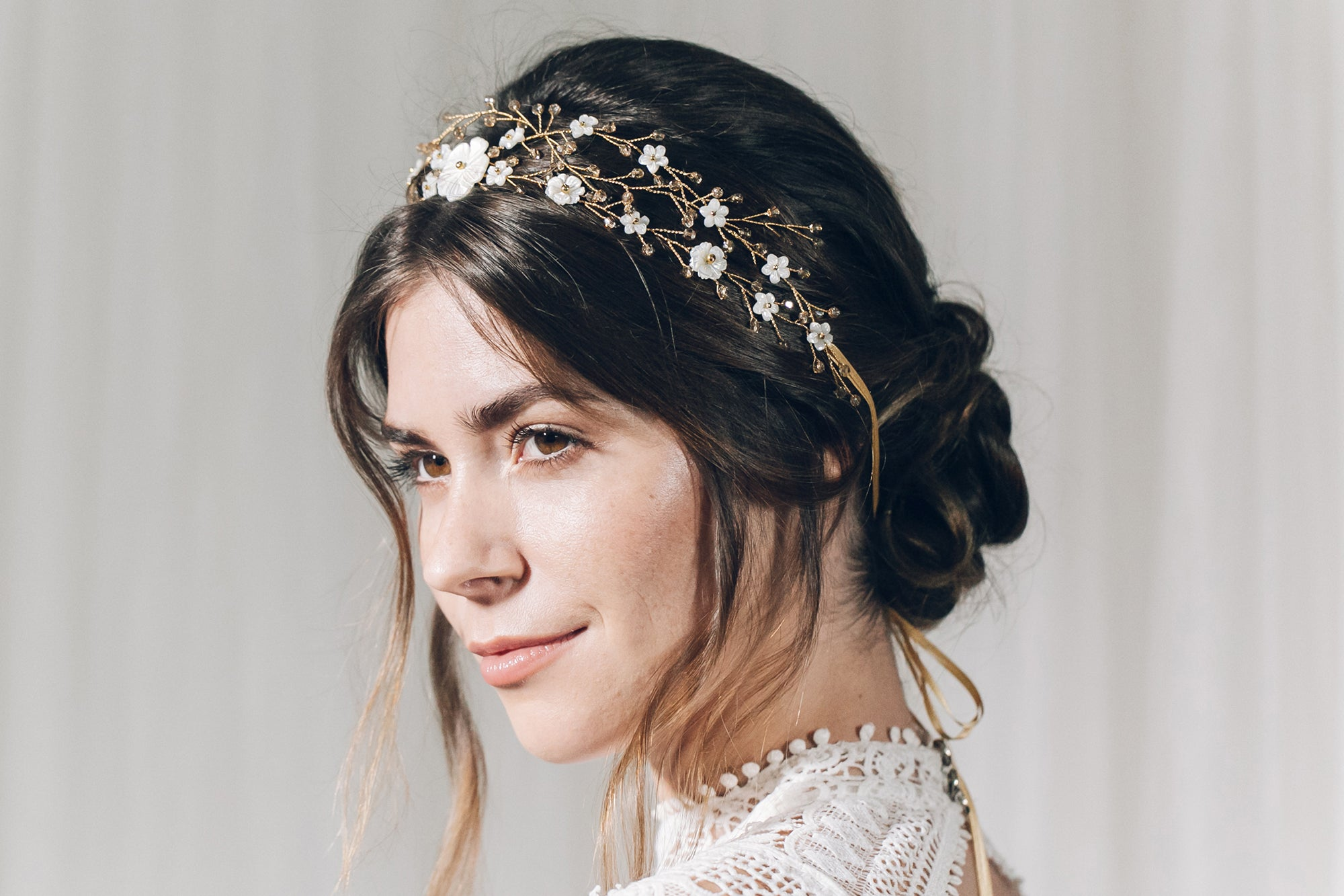 Gold mother of pearl floral crystal wedding headband hairvine tiara with ribbon ties