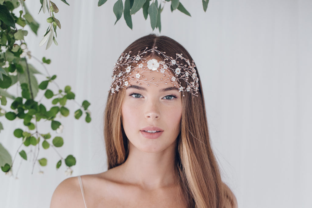 Rose gold wedding hair vine statement headpiece