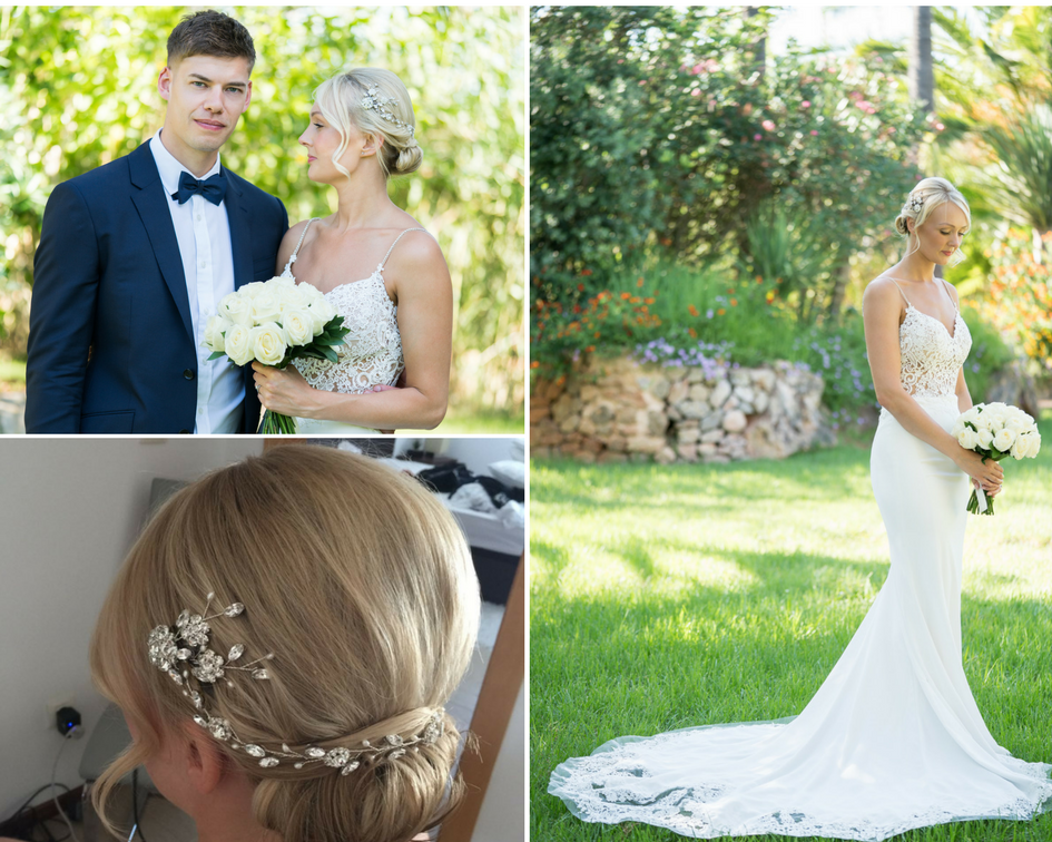 Debbie Carlisle Real Bride Cora Silver Crystal and Pearl Hairvine