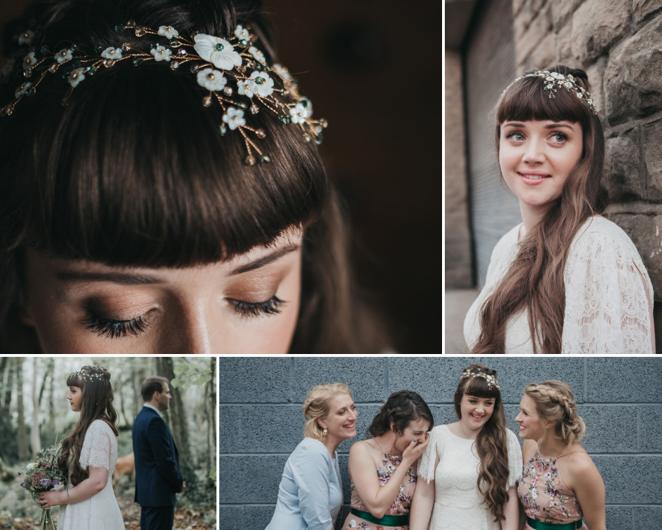 Debbie Carlisle Real Bride wears bespoke gold and green Sylvie mother of pearl flower hair vine