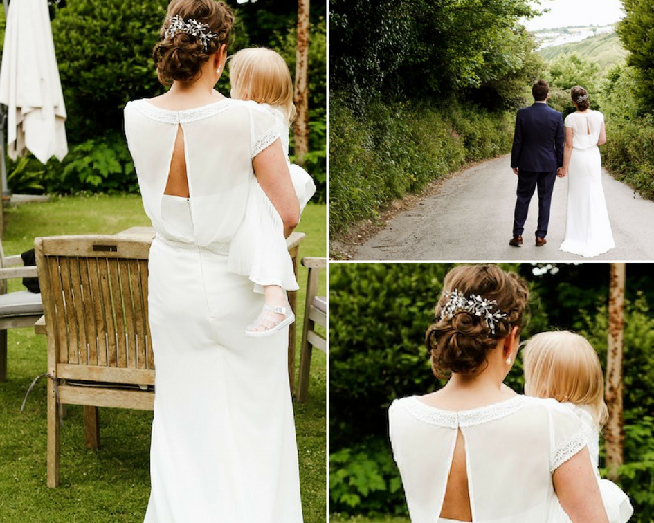 Debbie Carlisle Real Bride wears Bespoke Coralie and Cherry Inspired Silver Hairvine with Pearl Flowers