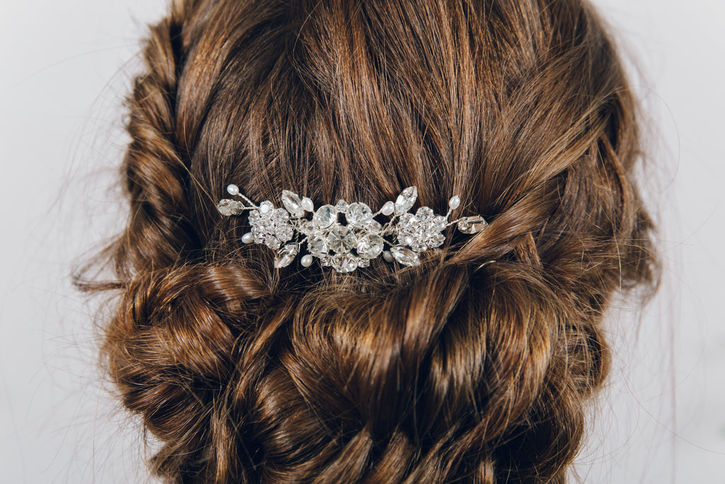 Small wedding comb uk silver bridal hair clip for wedding updo