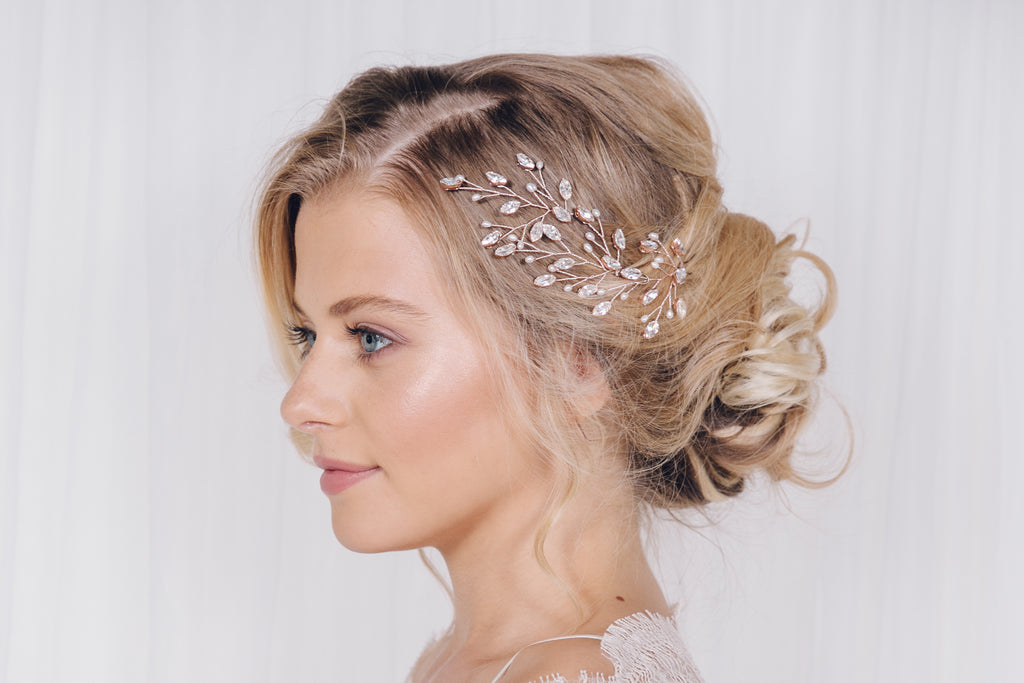 Maisie rose gold wedding hair pins trio set