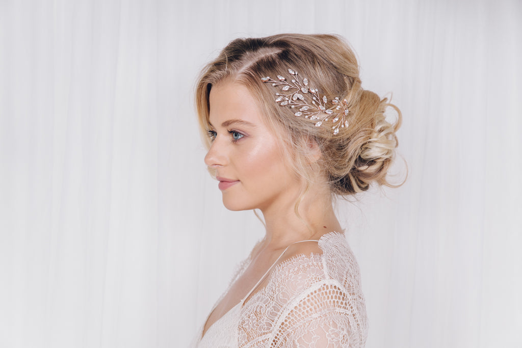 Maisie rose gold wedding hair pins from the Debbie Carlisle 2017 Wild Rose collection