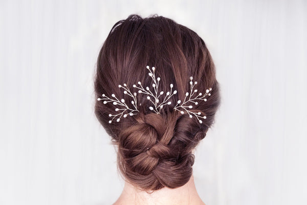 Pearl babies breath wedding hairpins bridal hair accessories