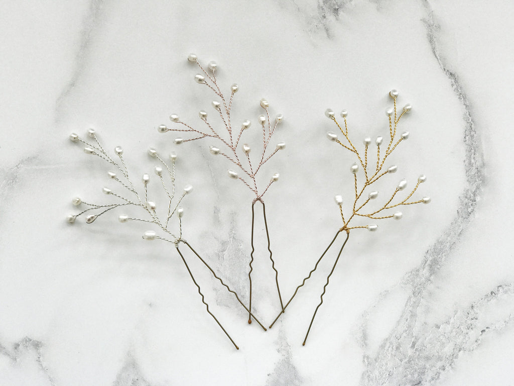 Gold silver or rose gold pearl wedding hairpins babies breath style
