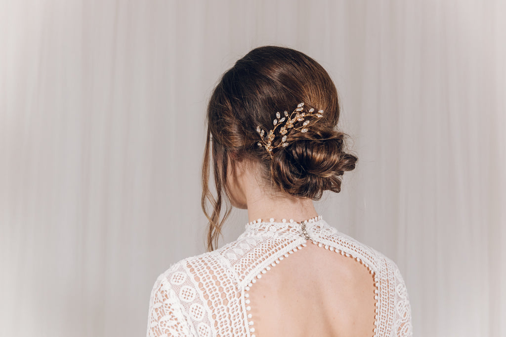 Two tone large gold wedding hairpins for updo low bun