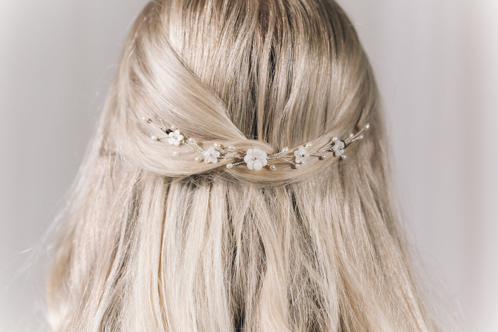 Simple small half up wedding hair vine silver mother of pearl flower