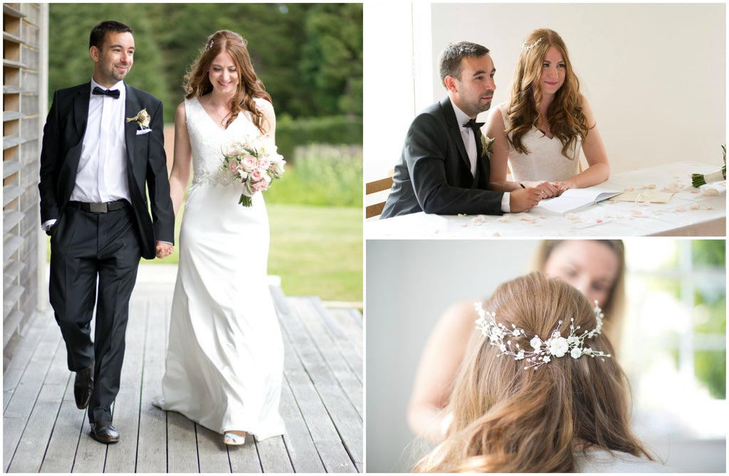 Debbie Carlisle real bride wears Sylvie wedding hairvine bridal comb