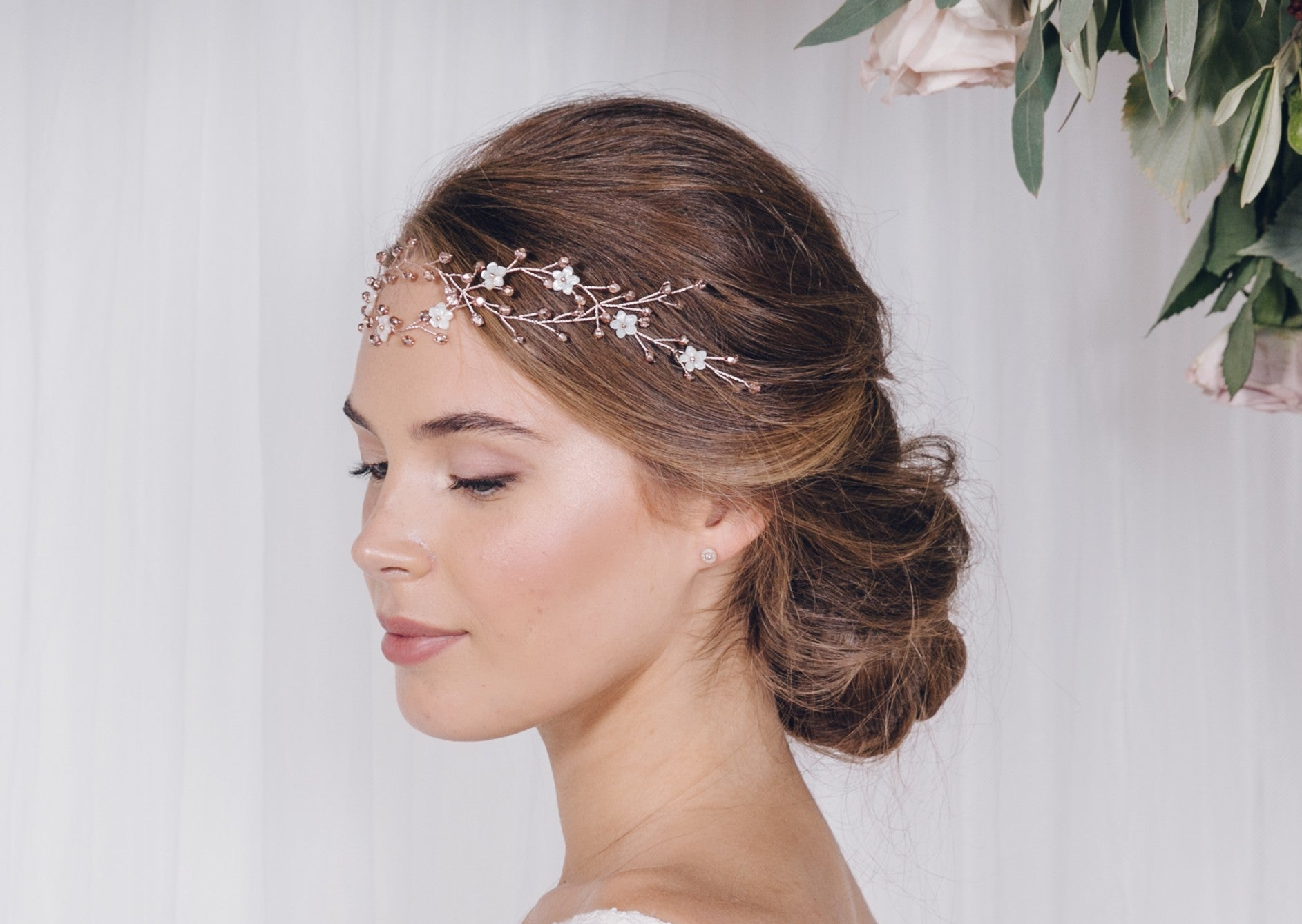 Rose Gold Hair Accessories for Weddings Anastasia forehead band