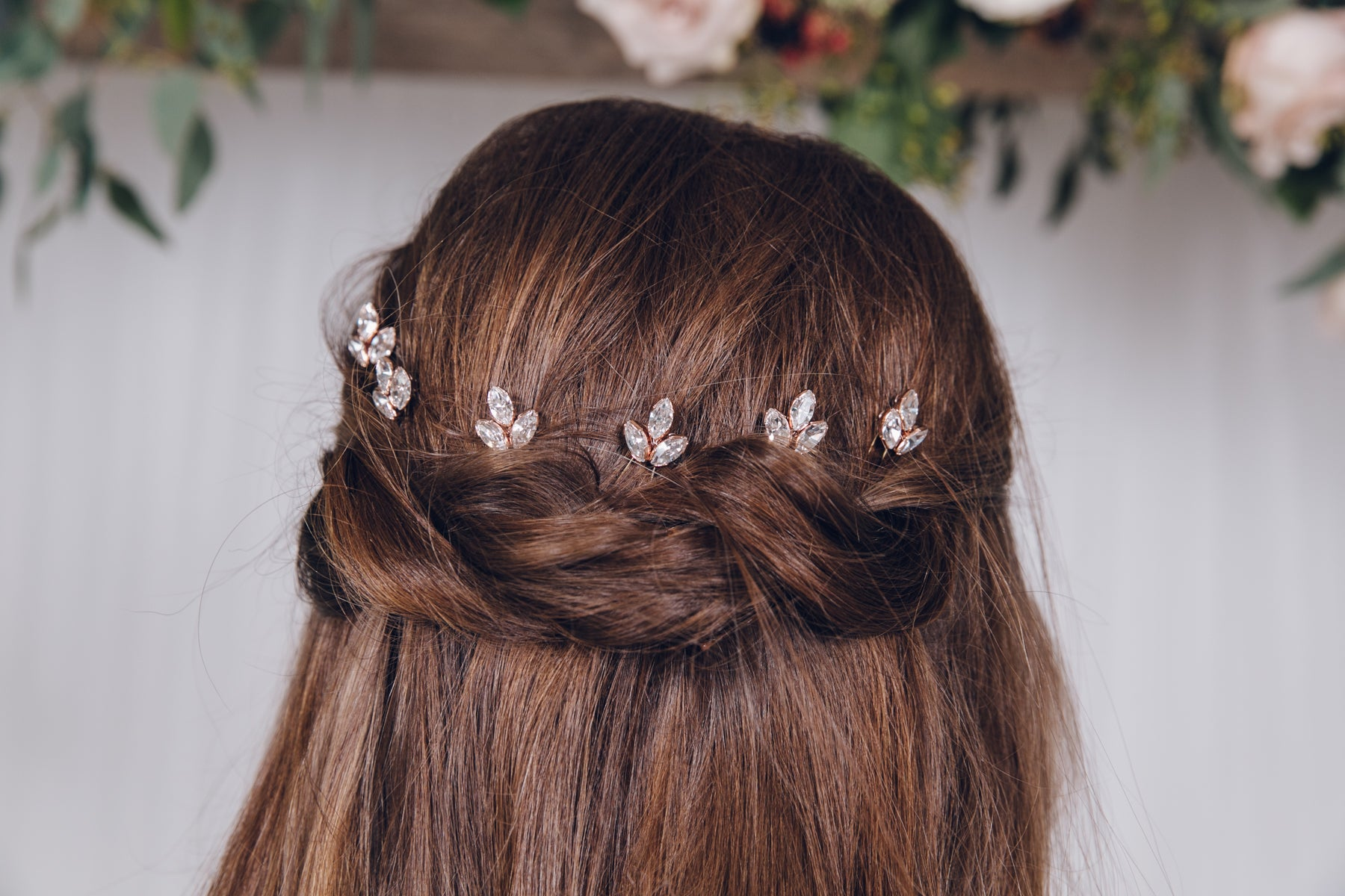 Rose Gold Hair Accessories for Weddings Anya simple crystal hairpins