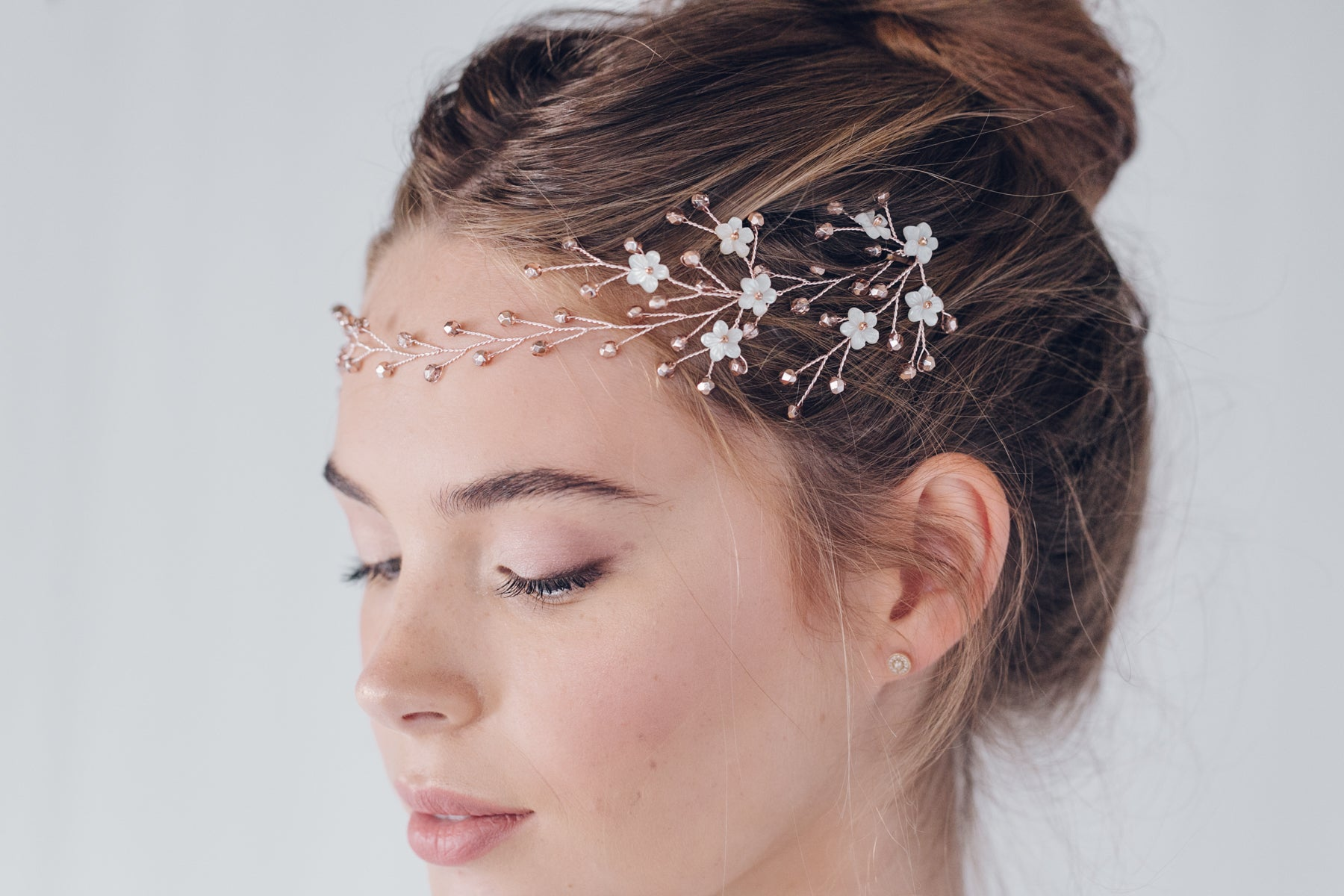 Rose Gold Hair Accessories for Weddings Coralie flower forehead band