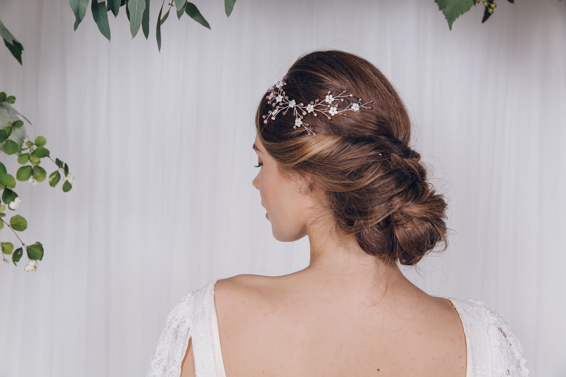 Rose Gold Hair Accessories for Weddings Ivy small flower hair vine