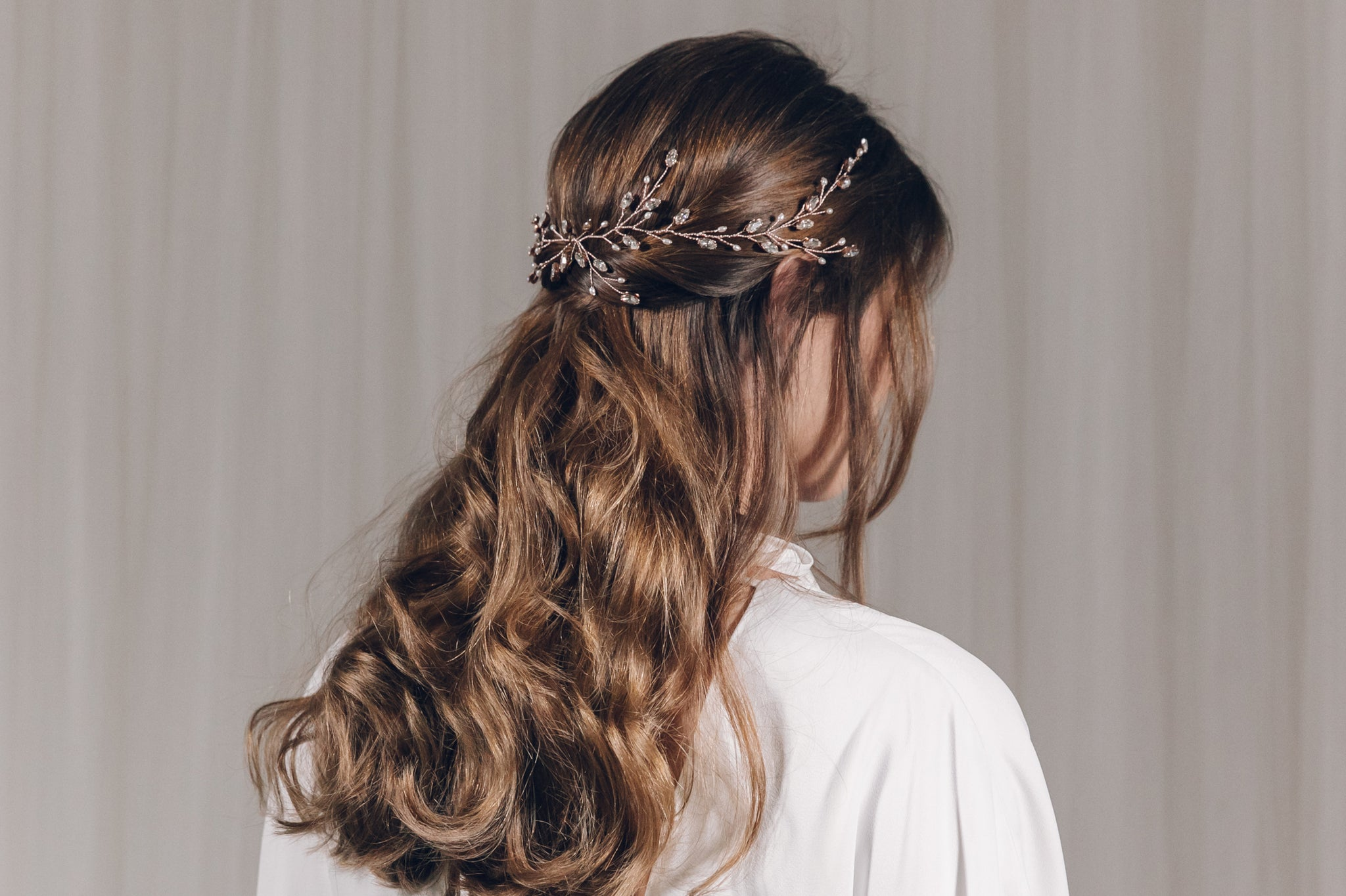 Rose Gold Hair Accessories for Weddings Lily Swarovski crystal hair vine