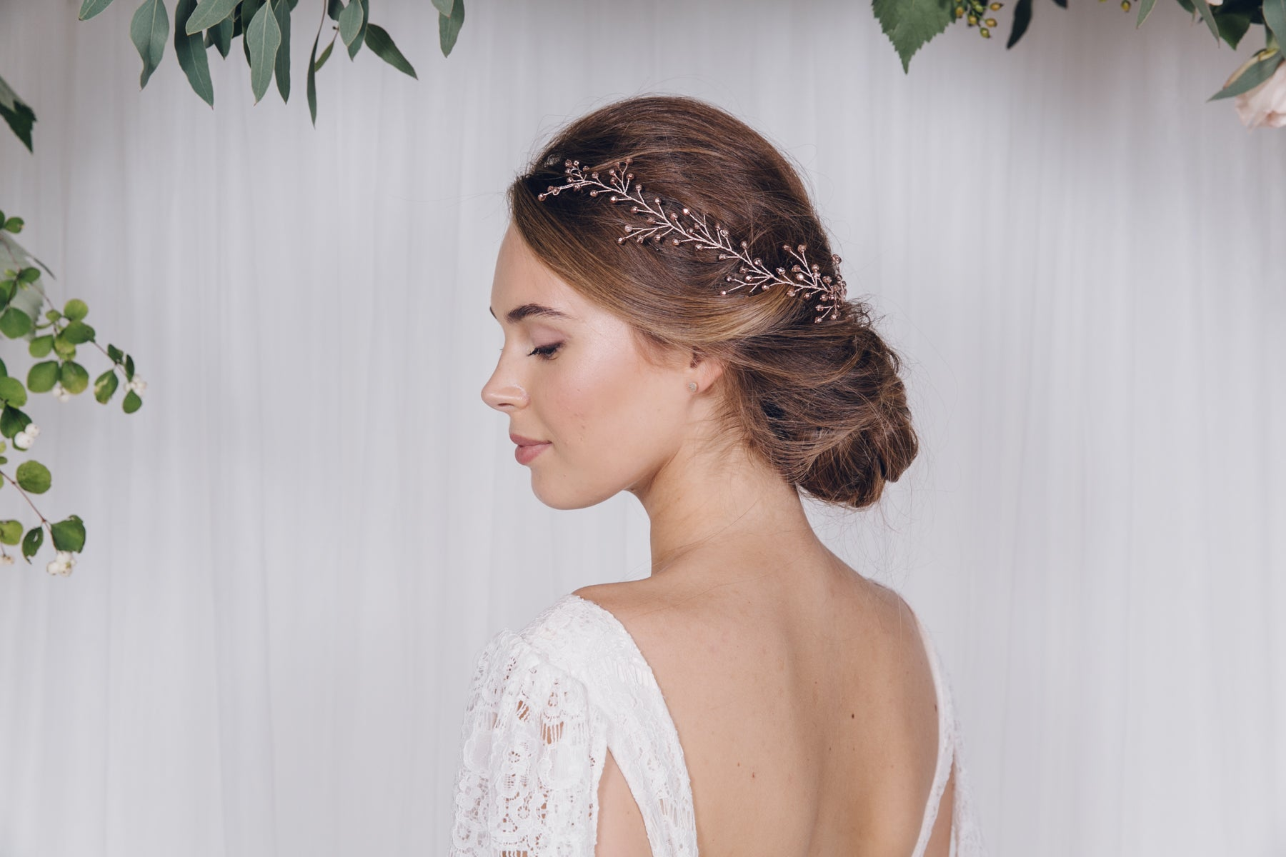 Rose Gold Hair Accessories for Weddings twig style hair vine
