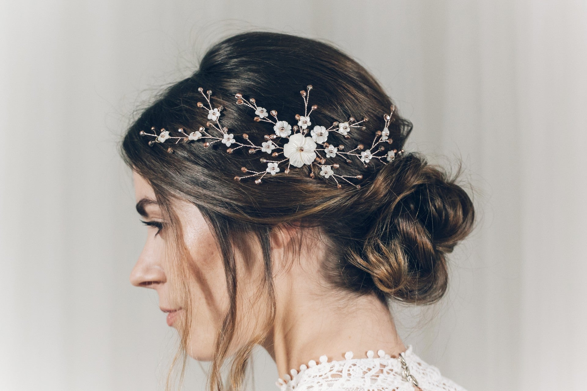 Rose Gold Hair Accessories for Weddings Small Sylvie flower hair comb