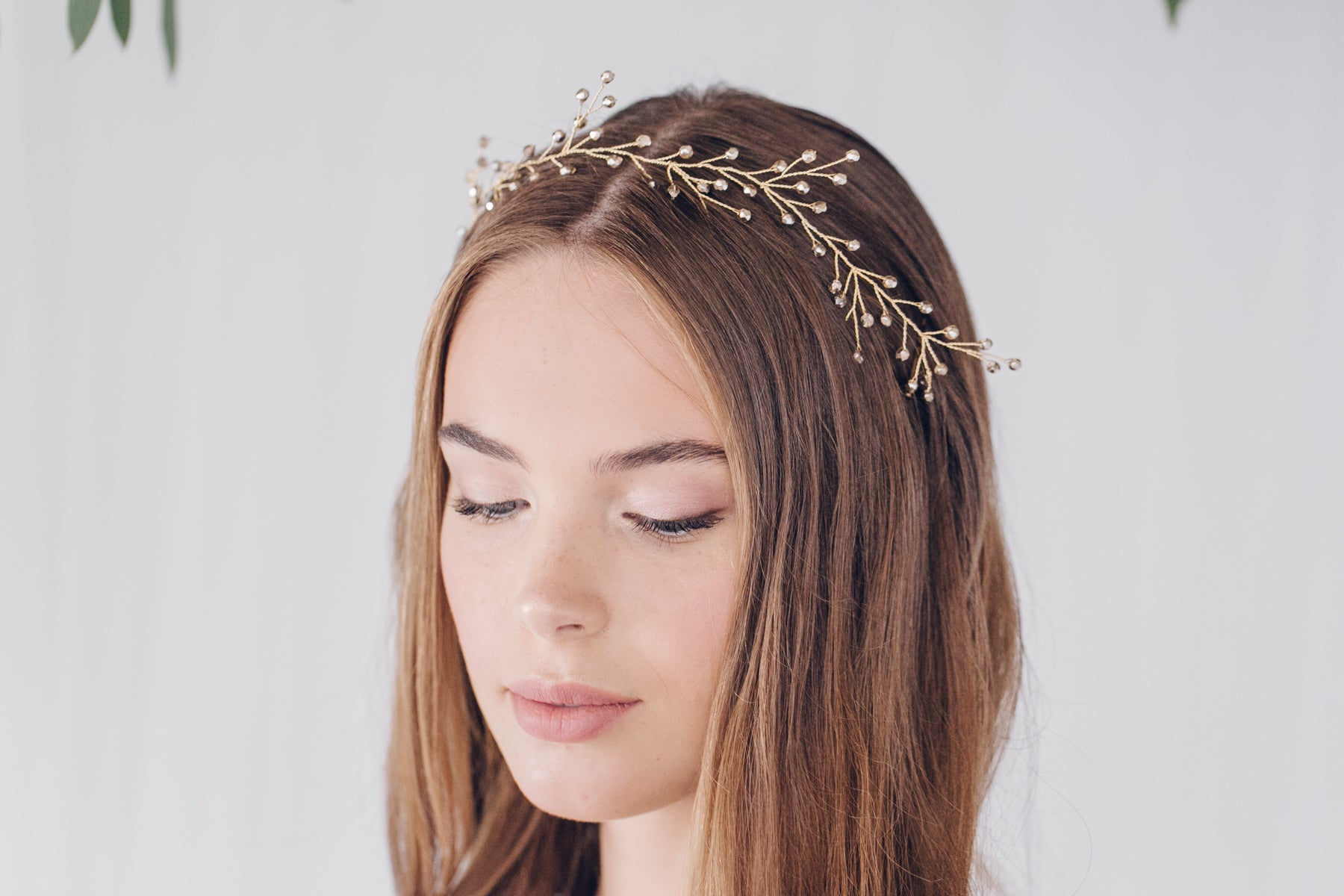 Gold rosemary twiggy branch ribbon tie hairvine tiara