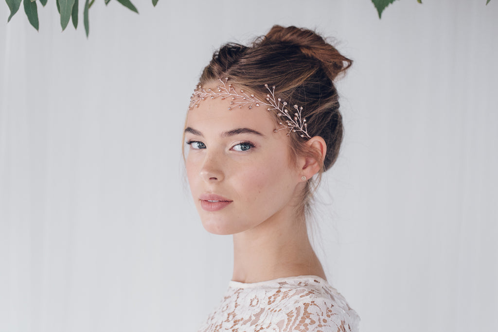 Rosemary rose gold ribbon tie headband worn as a browband