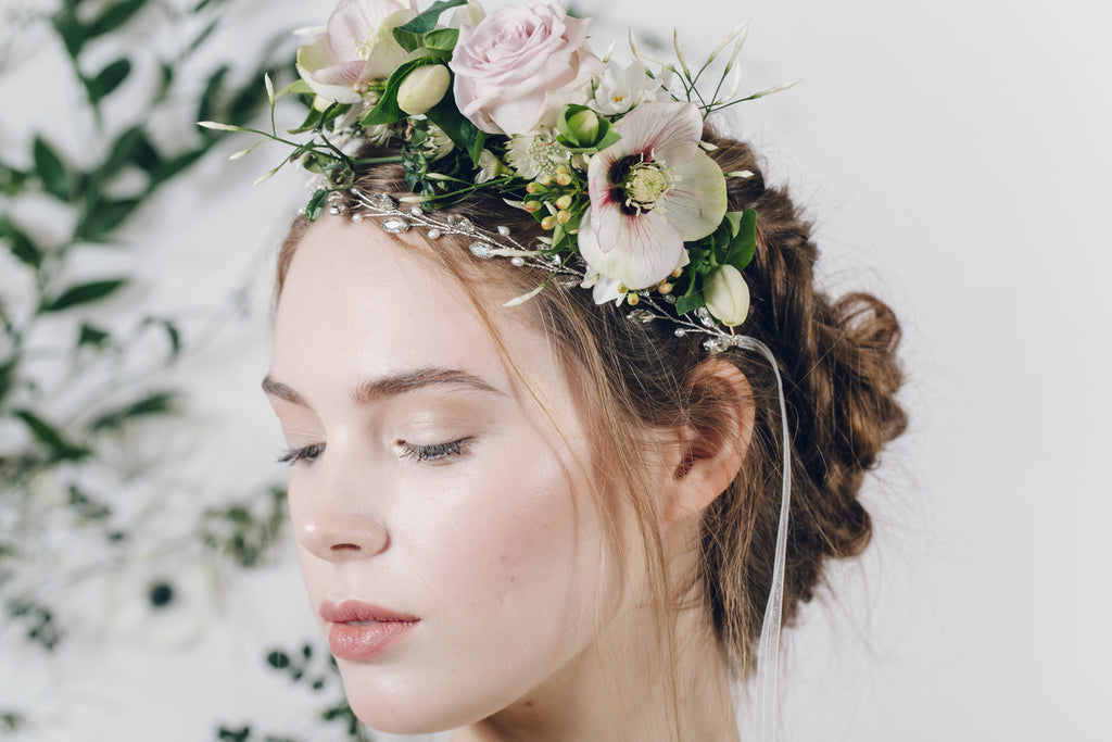 fresh flower crown with silver and pearl bridal headband