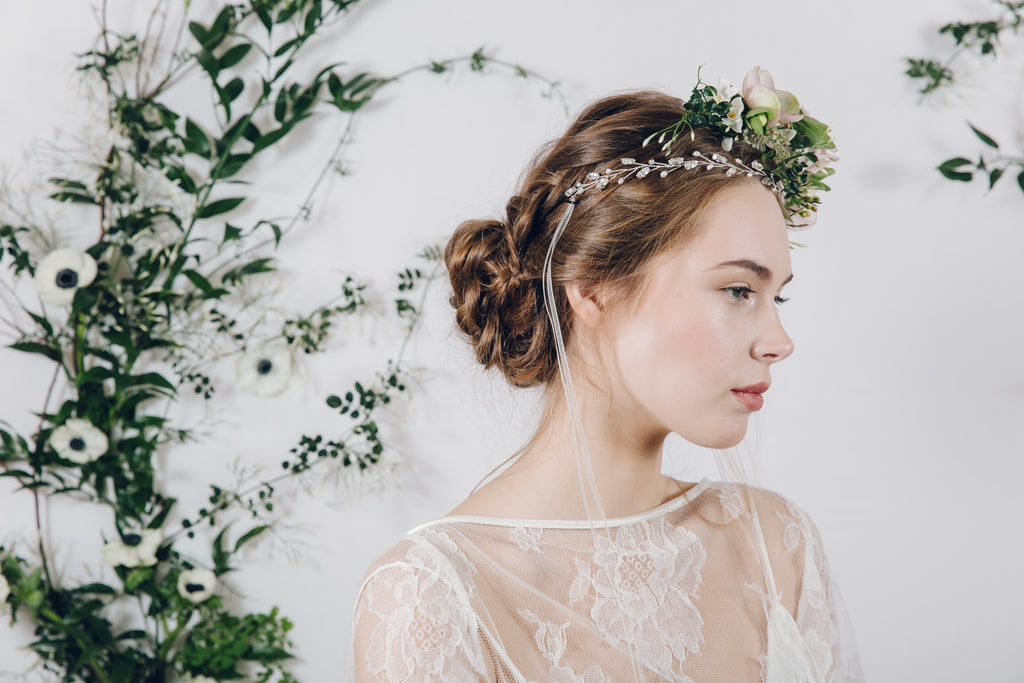 Silver crystal and pearl headband with flower crown