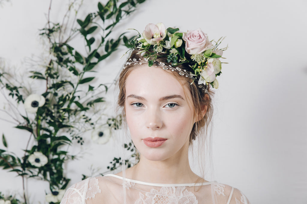silvery crystal and pearl delicate jewellery headband worn with real flower crown