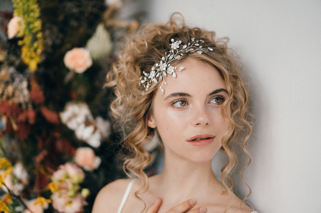 Large flower crystal bridal headpiece hairvine for a rustic chic bride