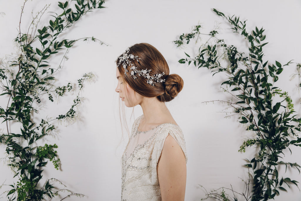 Silver crystal wedding hair vine