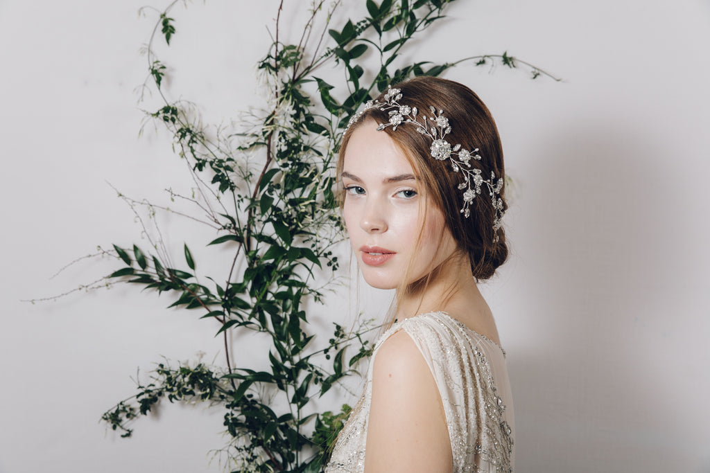 silver crystal wildflower floral wedding hair vine
