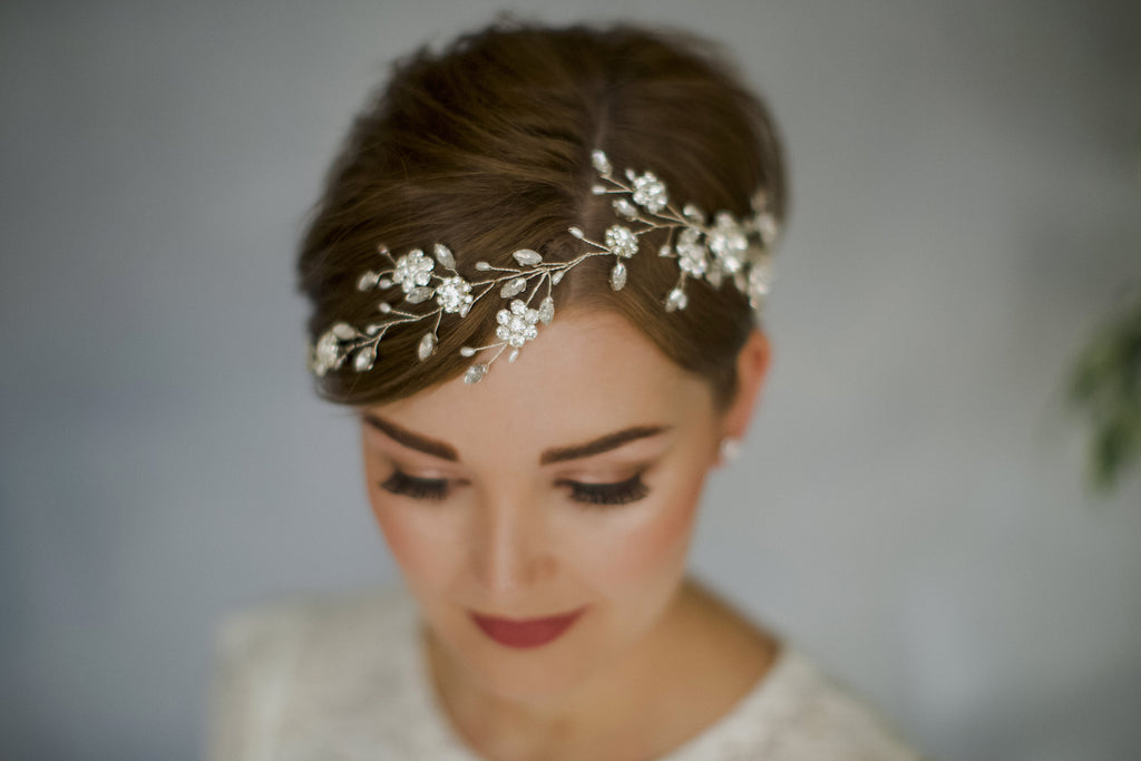 Crystal bridal hair accessory hair vine for short hair bride inspiration