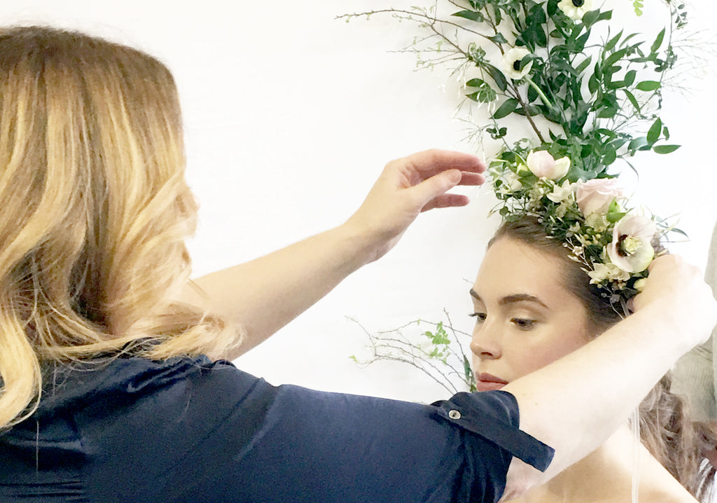 Debbie Carlisle styling a wedding hair accessory