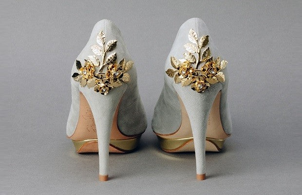 gold and grey flower heel wedding shoes by Harriet Wilde