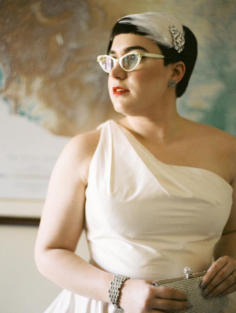 Debbie Carlisle real bride wears Ava Feather and Diamante bridal headband