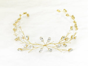 Modern boho Swarovski Crystal gold leafy long wedding hair vine - Lily