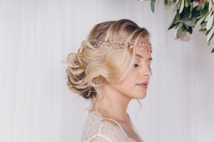 Rose gold crystal wedding hair vine browband