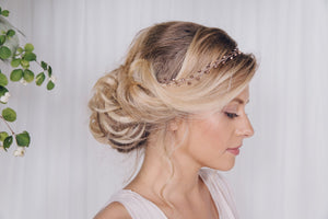 Rose gold crystal wedding headband with ribbon tie