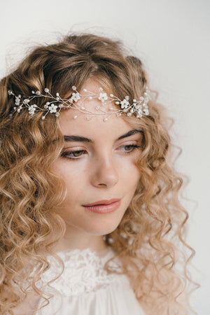boho wedding flower forehead band