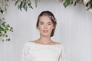rose gold bridal forehead band