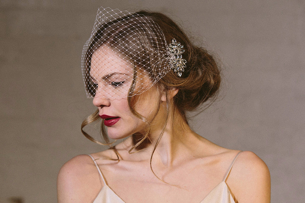 Ivory soft French netting vintage mask style birdcage veil