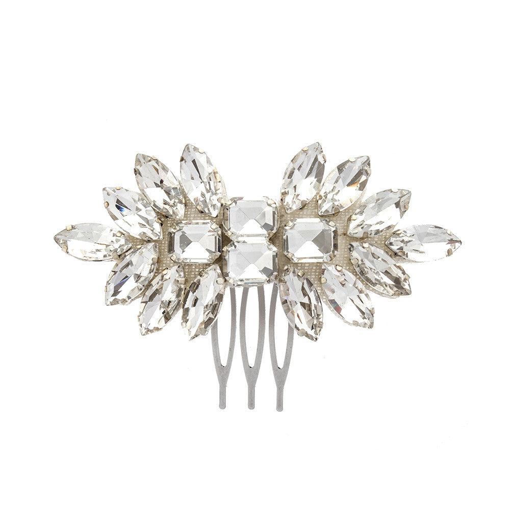 Silver wedding hair comb in deco design