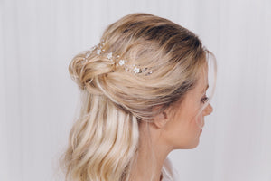 delicate pearl and crystal wedding hair vine