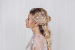 crystal and pearl delicate hair vine
