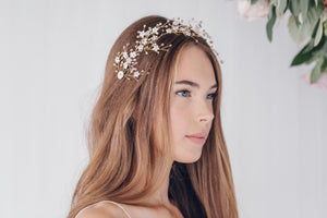 Flower wedding hairpins trio set in mother of pearl and crystal  - Coralie