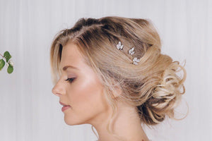 Swarovski crystal wedding hair pin trio in rose gold, silver or gold - Anya