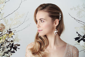 Slim Swarovski star and pearl bridal hair comb