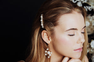 Small Swarovski star and pearl bridal hair comb